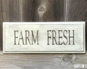 Farm Fresh Sign - Farmhouse Sign - Farmhouse Wood Sign - Farmhouse Decor - Rustic Wood Sign - Kitchen Sign - Kitchen Decor