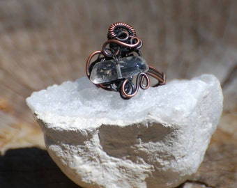 wire wrapped copper ring / size 10 / handmade jewelry