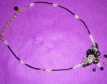 Black and crystal beaded necklace - with 3D cluster