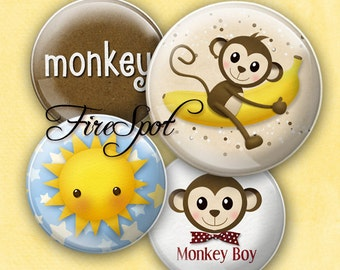 Monkey Sun Banana - Digital Collage Sheet 1.5 inch,1.25 inch,30mm,1 inch,25mm circle printable images.Glass Pendant.Bottlecaps,Scrapbooking