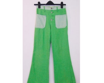 20% OFF! Vintage 60s/70s Flares/Green Flares/Disco/Vintage Pants/Trousers/Glam Rock/Psychedelic/Hippie/Hippy/UK 6