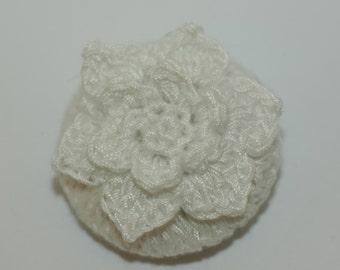 "White Crochet Flower Button Sz 1 1/2"""