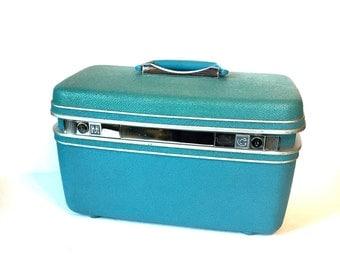 Vintage Blue Samsonite Train Case