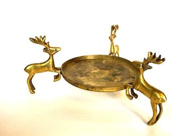 Vintage  Brass Deer Candlholder
