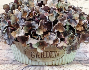 "LARGE Blue-Gray-Purple French Country Hydrangea Blooms ""Planted"" in a Metal GARDEN Tub"