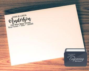 Custom Return Address Stamp - SELF INKING - Calligraphy - Handwriting Script - Personalized Wedding Stationery Stamp # 15