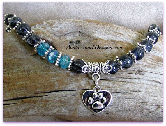 Paw print pet lover bracelet, pet remembrance jewelry, pet sympathy bracelet, pet memorial comfort gift, paw print jewelry, dog paw gift