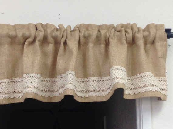 Lace Ruffle Curtain Short Burlap Valance Bohemian Curtains