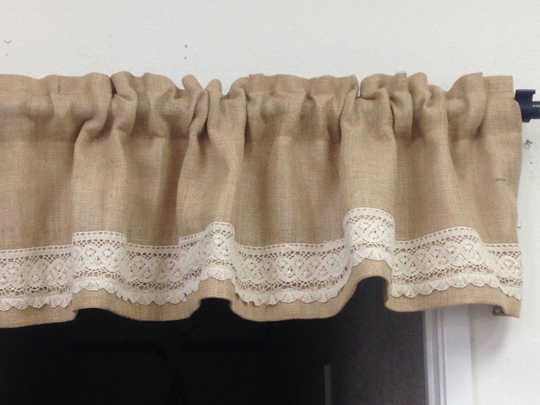 Ruffle window curtain - Lace Ruffle Curtain Short Burlap Valance Bohemian Curtains Boho Chic Curtains