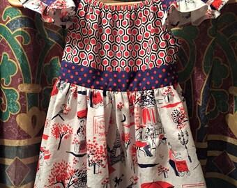 Navy/Red Paris Flutter Sleeve Dress