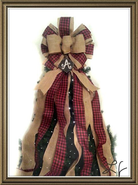 Large Christmas Tree Topper Bow Burlap Black And Red Plaid
