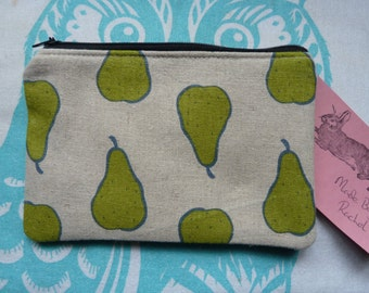 Handmade Makeup Bag Coin Purse Pears Linen Fabric Cosmetic Pouch Padded Lined
