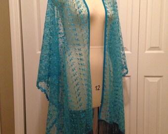 "Stevie Nicks inspired ""Bombay Sapphires"" shawl cape clothing"