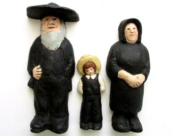 Amish Folk Art - Primitive Decor - Amish Wall Hangings - Carved Amish Family - Vintage Americana Don Ephraim Sculptor - Amish Sculpture