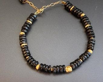 Bracelet smoky quartz , Goldfield ,Handcrafted  bracelet