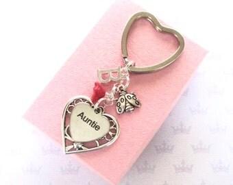 Auntie gift - Personalised Auntie keyring - Auntie Birthday - Ladybug keychain - Initial keyring - Auntie gift - Ladybird keyring - UK