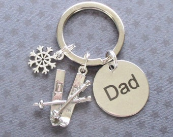 Father's Day keyring - Dad gift - Father's Day gift - Pair of skis - Gift for Dad - Skiing gift - Dad keychain - Gift for skier - Etsy UK