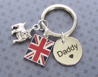 Father's Day gift - British Bulldog keyring for Daddy - Union Jack keyring -  Birthday gift for Daddy - Daddy gift - Etsy UK