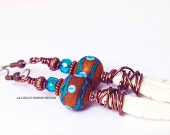 Earrings, One of a Kind Earrings, Boho Earrings, Bohemian Earrings, Boho Blue Orange Dotted Feather Earrings