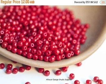 JUST BECAUSE 40 Blood Red  3mm Druk Czech Glass Beads (A331)