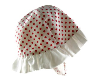 Childs sun hat, 12 to 36 months, childs brimmed hat, red and white hat, childs beach hat, childs summer hat red polkadot hat