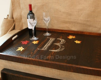 Distressed to Impress! Rustic Modern oversized Ottoman Tray Table Top Serving Breakfast Tray