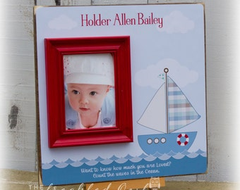 Sailboat Baby Personalized Frame, Sail Boat Nursery Decor, Baptism, Christening, New Baby Gift, Count the Waves 16 X 16