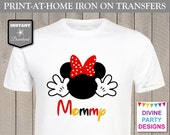 INSTANT DOWNLOAD Print at Home Red Girl Mouse Mommy Printable Iron On Transfer / T-shirt / Family Trip / Party / Item #2372