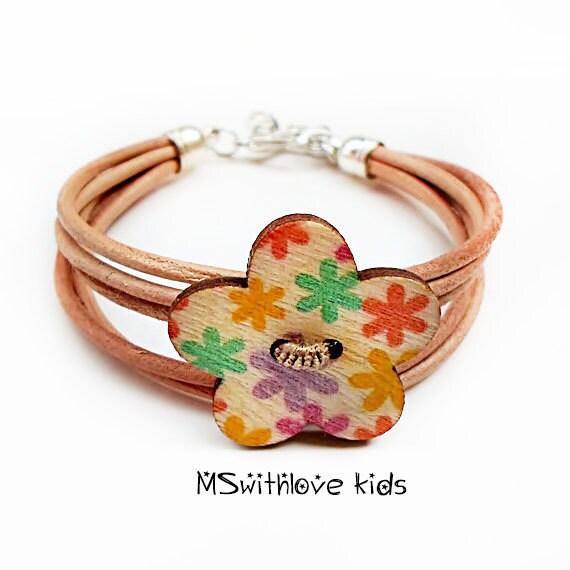 Hippie leather girl bracelet Handmade kids bracelet by ...