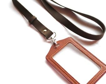 Leather lanyard, id badge, lanyard with badge holder, id badge lanyard, Lanyard with id holder, key holder, ID holder, leather keychain