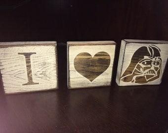 Peace, Love & Darth Vader or I <3 Darth Vader | Star Wars Desk/Shelf Decor Blocks