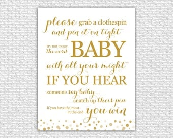 Don't Say Baby - Baby Shower Game, Printable Baby Shower Game, Baby Shower Sign, Gold, Baby Shower Printable, Baby Shower Decor, Confetti