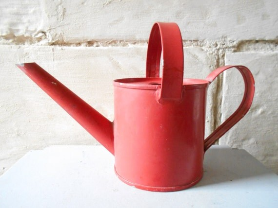 Vintage Watering Can Red Tin Metal Watering Can Vintage