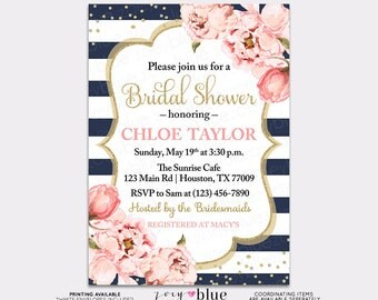 Peony Bridal Shower Invitation- Blush Navy Watercolor Peonies -  Floral Navy Blue Pink Bubbly Brunch Confetti Baby Shower - Printable File