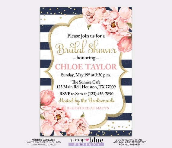 Peony bridal shower invitation blush navy watercolor peonies il570xn filmwisefo