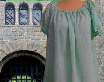 xFREE SHIP Renaissance Medieval Calf Length Spring Green Chemise Undergown SCA Garb Cotton Blend 2-3x