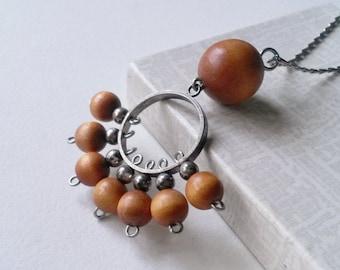 """Vintage Aarikka Wood Bead and Silver Plated Pendant """"Kujeilu"""", 1960s (F247)"""