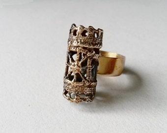 "Rare Vintage ""Pitsi"" Bronze Ring by Pentti Sarpaneva, Finland (F401)"