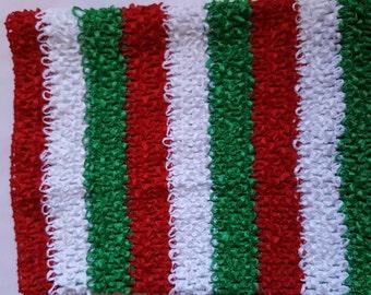 """RED/GREEN  tutu top  10"""" X 9"""" crochet tutu top  -tube top, tutu dress supply,tutu top,stretchy tutu dress top ,tutu dress top"""
