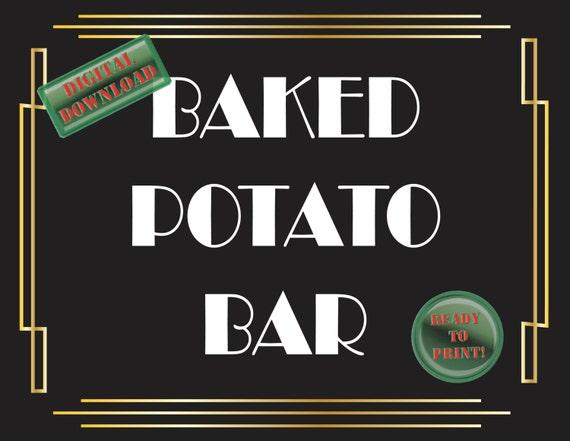 Baked Potato Bar Printable Sign Art Deco Food Table Sign