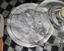French vintage White Marble Cutting Board & Glass Dome..1 Cheese Knife...Serving Board...Cheese Board...Chopping Board...Glass