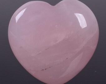 "g3900 x2 2pcs of 21mm Rose quartz puff LOVE hearts Crystal healing Reiki pocket stone 0.8"""