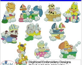 Embroidery Design CD - Bubble Bath(1) - 10 Designs - 9 Formats - Threadart