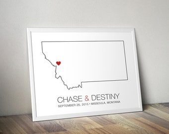 Montana - Modern Style Personalized State Map Art Print - Custom Map Wedding gift Bridal shower gift Wedding guest book
