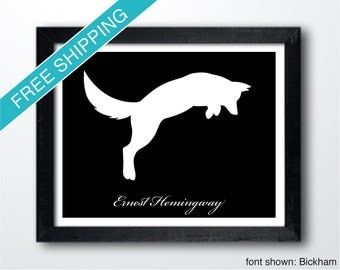 Personalized Jumping Fox Silhouette Print with Custom Message - fox art, fox print