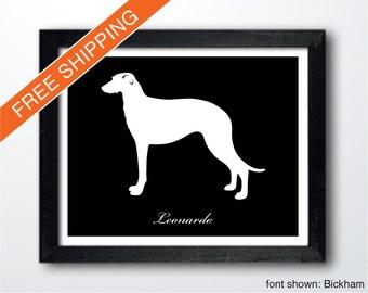 Personalized Scottish Deerhound Silhouette Print with Custom Name - Scottish Deerhound art, modern dog home decor, dog art