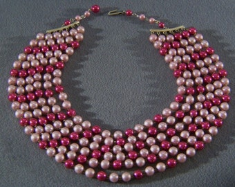 Vintage Yellow Gold tone Shades of Pink Faux Pearl Bold 6 Strand Necklace Jewelry **RL