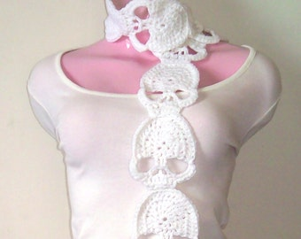 Creepy Cute Crochet Skull Scarf    Crochet Skull Scarf   Crochet Scarf   Creepy Cute Scarf   Gothic Accessories   Handmade   Multiple colors