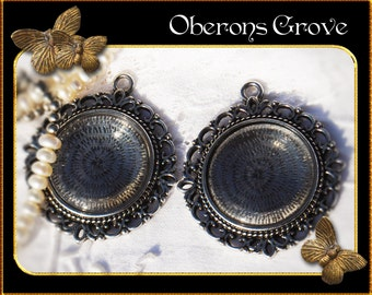 2 filigree silver settings with 25mm cabochons