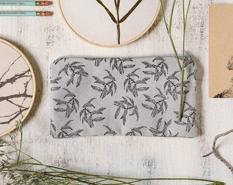 pencil zipper pouch with botanic leaf print, Small christmas gift, perfect for stocking filler of stocking stuffer